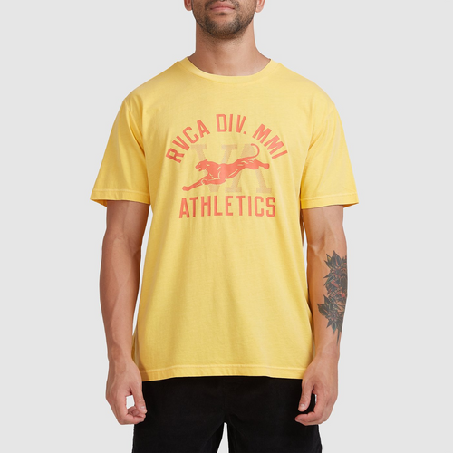 RVCA Athletic Tee Mens in Gold