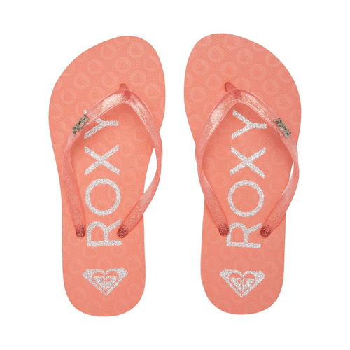 Roxy Viva Sparkle Thongs Junior Girls in Pink Metallic Silver