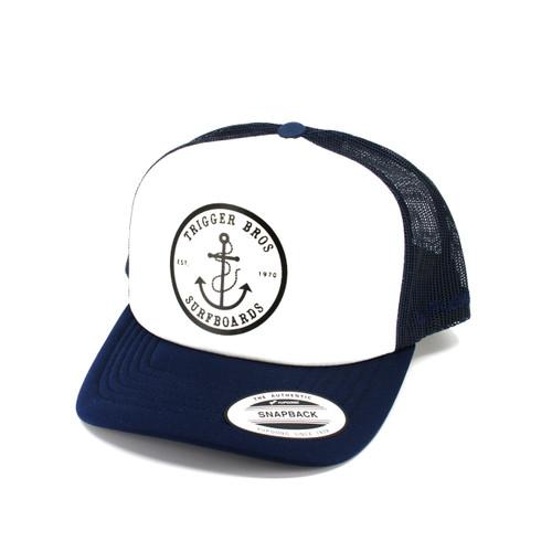 Trigger Bros Anchor Trucker Hat in Navy White
