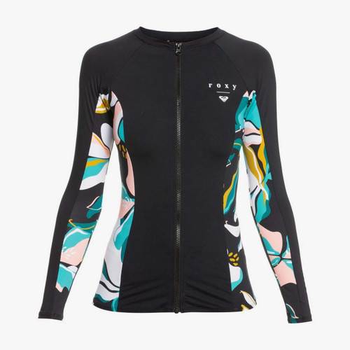 Roxy Beach Classics Long Sleeve Zip Rashvest Womens in Anthracite Paradisco
