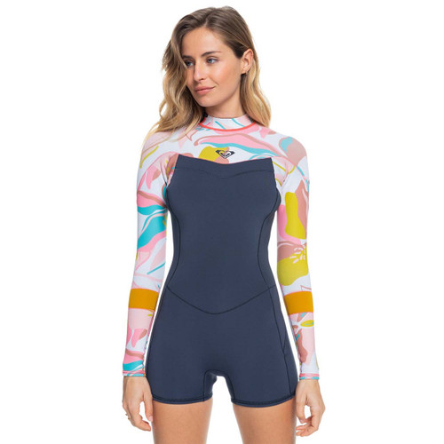 Roxy 2MM Syncro BZ Long Sleeve Springsuit Womens in Jet Grey Coral Flame Temple Gold