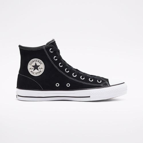 Converse CTAS Pro Hi Suede Shoes in Black Black White