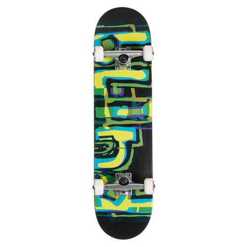 Blind Logo Glitch FP 7.875 Skateboard Complete in Green Yellow