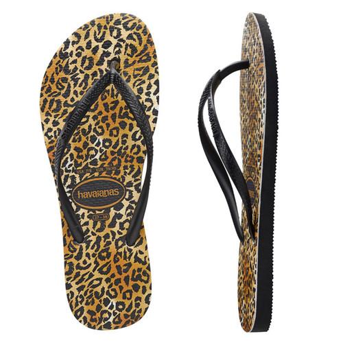 Havaianas Slim Leopard Thongs in Black Black