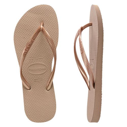 Havaianas Slim Metallic Thongs in Rose Gold