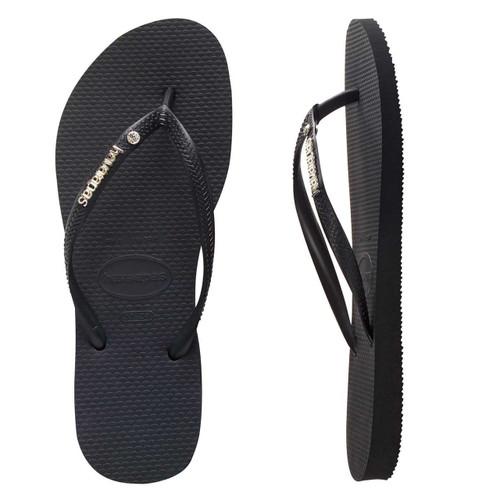 Havaianas Slim Metal Logo Crystal Thongs in Black Black