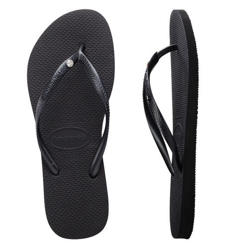 Havaianas Slim Crystal SW II Thongs in Black