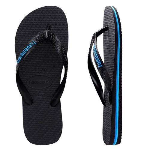 Havaianas Rubber Logo Thongs in Black Blue