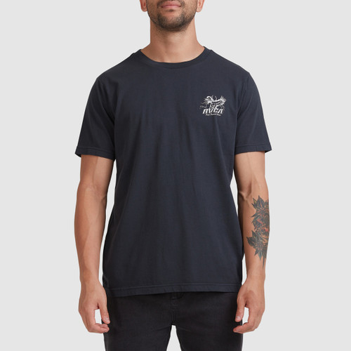 RVCA Land Of The Free Tee Mens in Washed Black