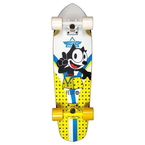 Dusters Flashback Felix 28in Cruiser Skateboard in Yellow White