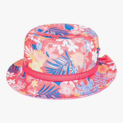Roxy By The Sunset Bucket Hat Junior Girls in Calypso Coral Flower Power