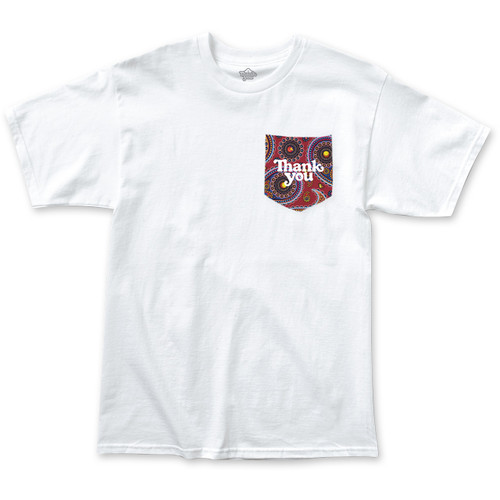Thank You Paisley Pocket Tee Mens in White