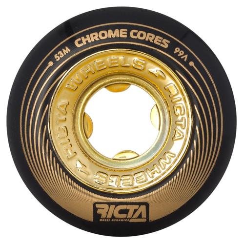 Ricta Chrome Core 53MM 99A Skate Wheels in Black Gold