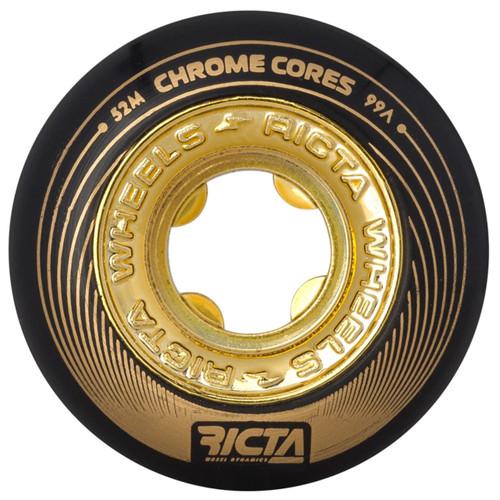 Ricta Chrome Core 52MM 99A Skate Wheels in Black Gold