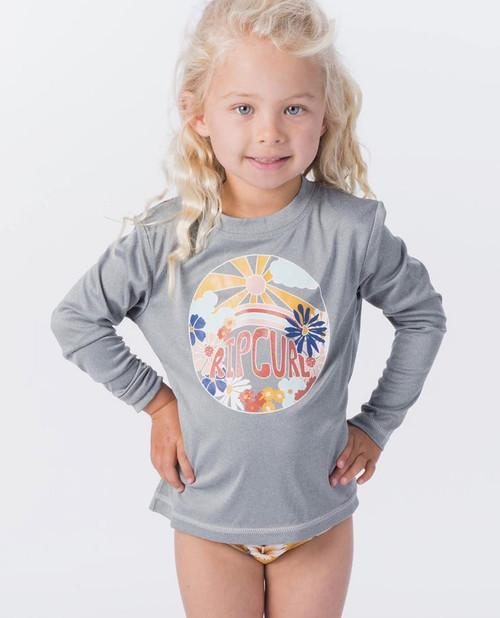 Rip Curl Mini Island Loving Long Sleeve Rashvest Junior Girls in Light Grey Marle