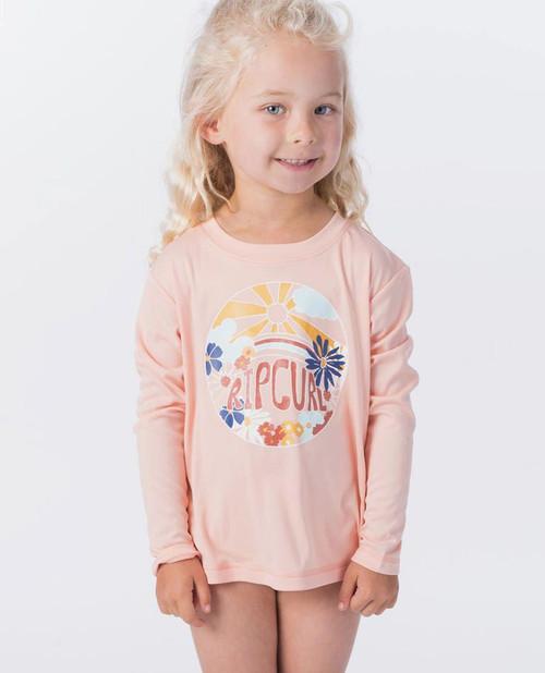 Rip Curl Mini Island Loving Long Sleeve Rashvest Junior Girls in Peach