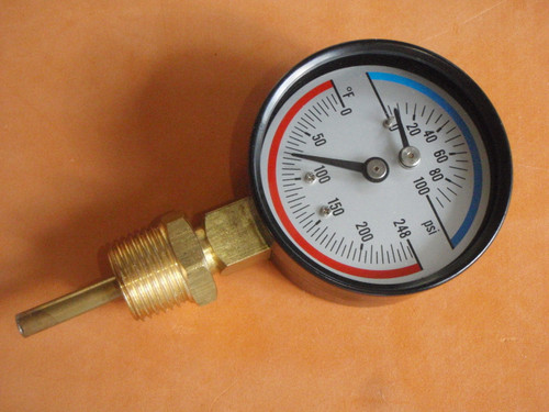 Pressure and Temperature Guage for Aquaponics hot water heating system