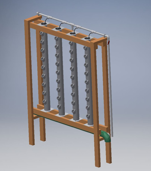 Example of GroPockets 4 tower, 5ft tall wood frame
