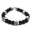 Sterling Silver Skull and Lava Bead Bracelet
