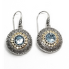 Sterling Silver and 14KY Blue Topaz Earrings