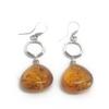 Sterling Silver Cognac Amber Earrings