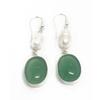 Sterling Silver Pearl and Jadeite Earrings