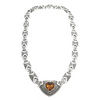 Sterling Silver Marcasite and Citrine Heart Necklace