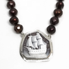 Sterling Silver and Bronze Pearl Ship Cameo Necklace