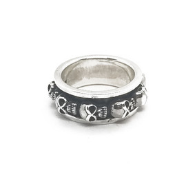 Sterling Silver Spinner Skull Ring