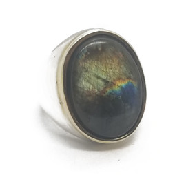 Sterling Silver and 14KY Labradorite Ring