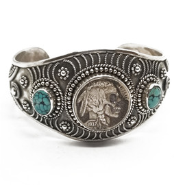 Sterling Silver Carved Native American Cuff with Turquoise