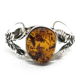 Sterling Silver Baltic Amber Cuff