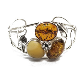 Sterling Silver Tri-Color Amber Cuff