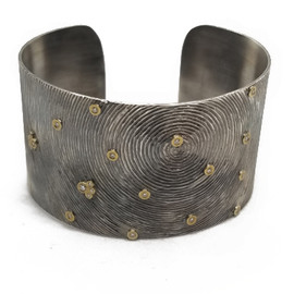 Oxidized Sterling Silver and 18KY Diamond Cuff