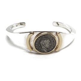 Sterling Silver and 14KY Ancient Roman Coin Cuff