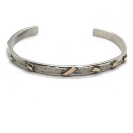 Sterling Silver and 14KY Cuff with Diamonds