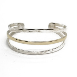 Sterling Silver and 14KY Cuff