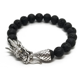 Sterling Silver Dragon and Lava Bead Bracelet