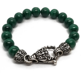 Sterling Silver and Malachite Bead Bracelet