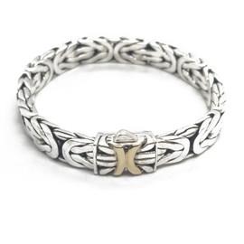 Sterling Silver and 14KY Byzantine Bracelet