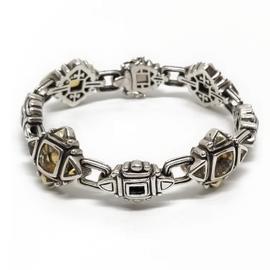 Sterling Silver, 18KY Citrine Bracelet
