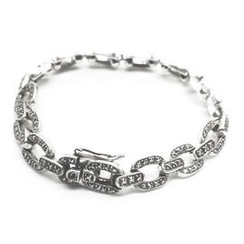 Sterling Silver Marcasite Open Link Bracelet