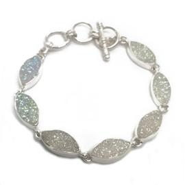 Sterling Silver White Druzy Bracelet