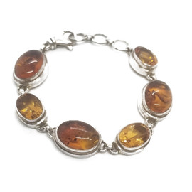 Sterling Silver Amber and Citrine Bracelet