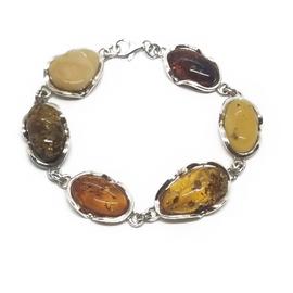 Sterling Silver Tri-Color Amber Bracelet