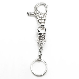 Sterling Silver Skull and Snake Keychain