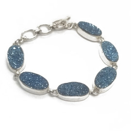 Sterling Silver Blue Druzy Bracelet