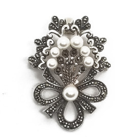 Sterling Silver Marcasite and Pearl Brooch