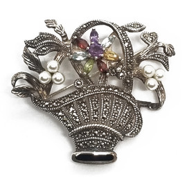 Sterling Silver Bouquet Brooch