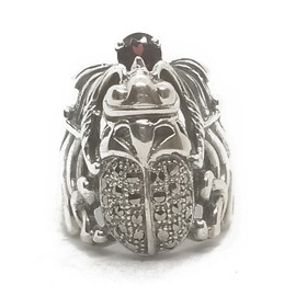 Sterling Silver Marcasite Scarab Ring